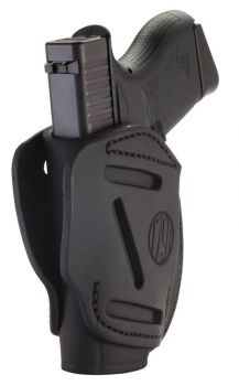 1791 Gunleather 3wh2sbla 3 Way Stealth Black Leather Owb Fits Glock 42/ruger Lcp/sw Bodyguard Ambidextrous Hand