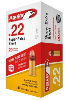 Aguila 1b222110 Standard High Velocity 22 Short 29 Gr Copperplated Solid Point 50 Bx/ 100 Cs