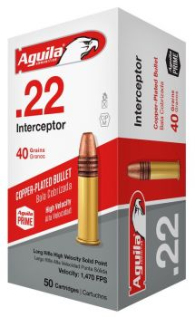 Aguila 1b222320 Special Interceptor 22 Lr 40 Gr Copperplated Solid Point 50 Bx/ 100 Cs