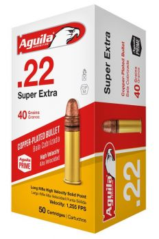 Aguila 1b222328 Standard High Velocity 22 Lr 40 Gr Copperplated Solid Point 50 Bx/ 100 Cs